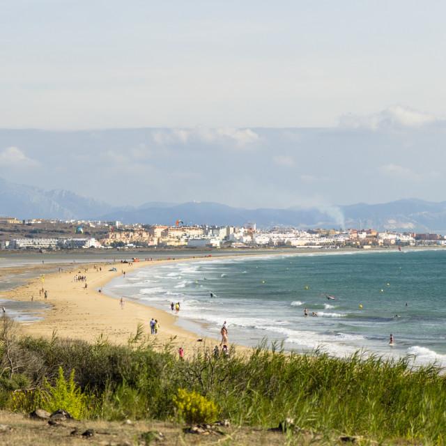 """Dunes and beach at Tarifa"" stock image"