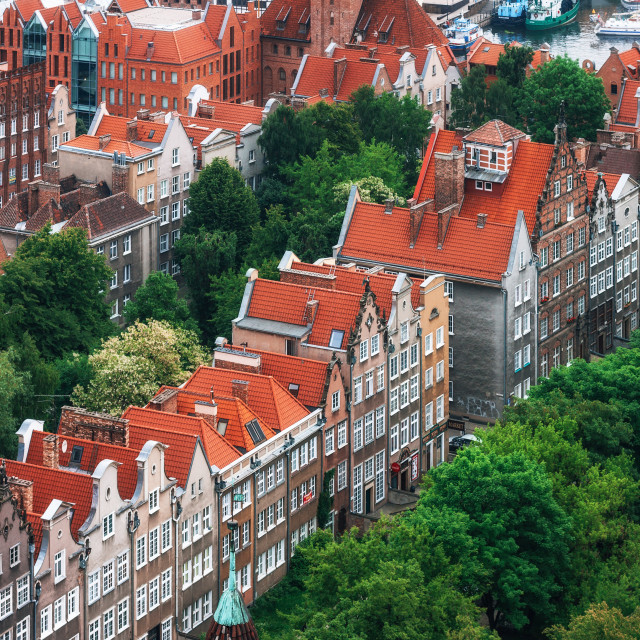 """Aerial view of colorful houses in Old Town, Gdansk, Poland"" stock image"