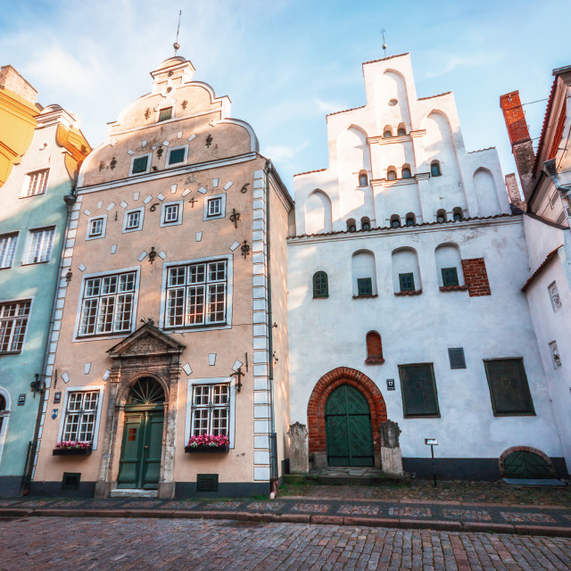"""Three Brothers - Landmarks of Riga. Complex of three houses, Latvia"" stock image"