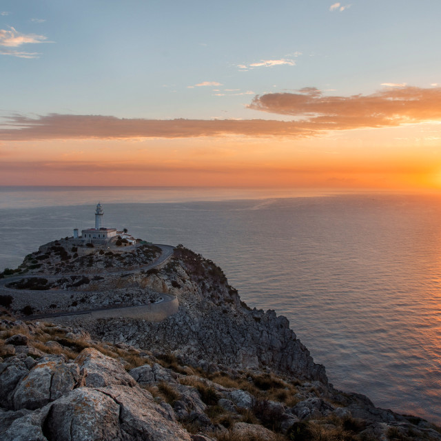 """Lighthouse at Cap de Formentor on Mallorca at the sunrise"" stock image"