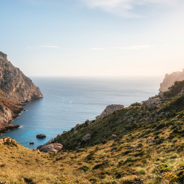 """View of thel bay of Cape Formentor with azure water Mallorca, Spain"" stock image"