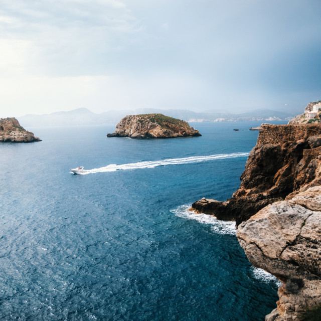 """View to rocks of Santa Ponsa in Mallorca island before the storm"" stock image"