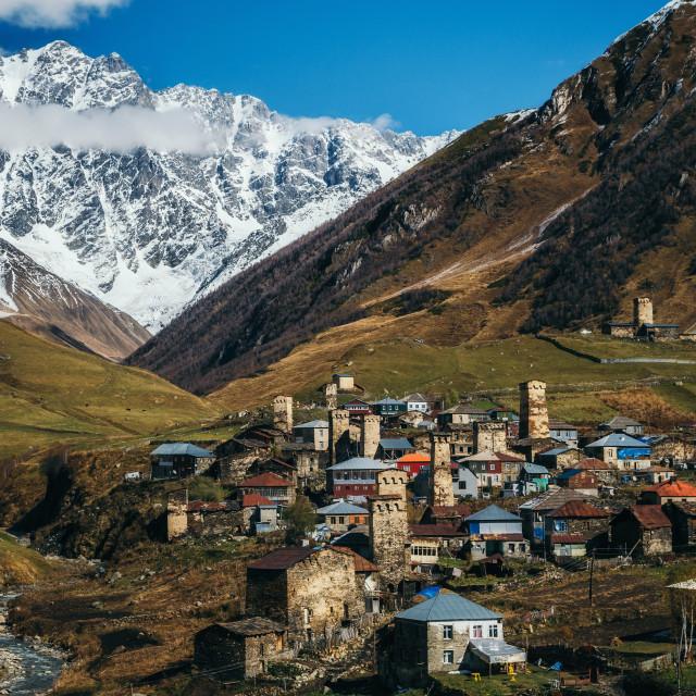 """""""Svanetian Towers in Ushguli, Upper Svanetia, Georgia"""" stock image"""