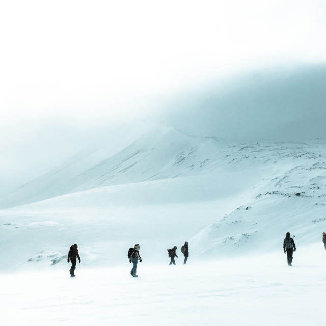 """Crossing a plateau in the arctic"" stock image"