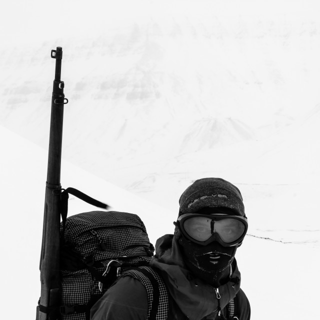"""Exploring Svalbard with a rifle"" stock image"