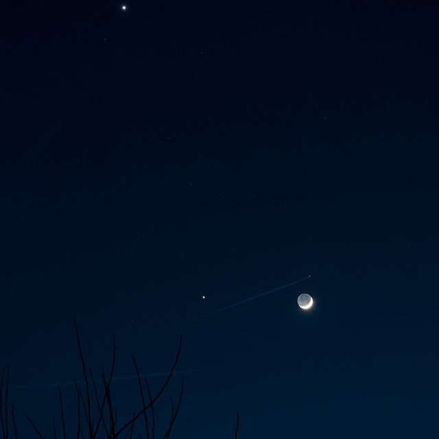 """""""Crescent Moon with Jupiter and Venus"""" stock image"""