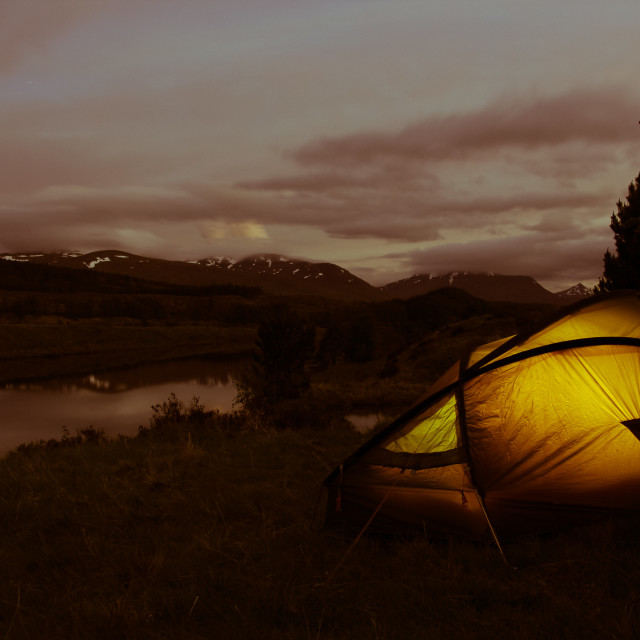 """Camping in Scotland"" stock image"