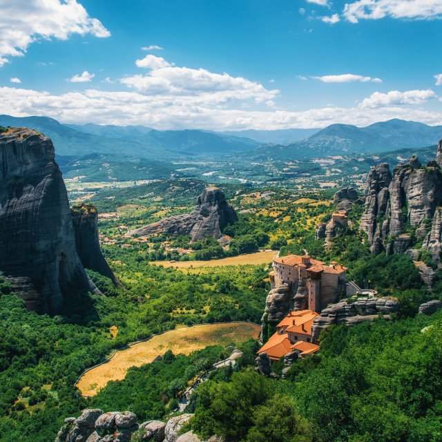 """Meteora, Greece. Mountain scenery with Meteora rocks and Roussanou Monastery"" stock image"