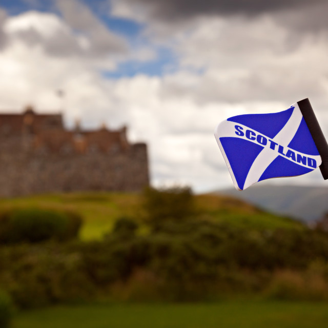 """Scottish flag and castle"" stock image"