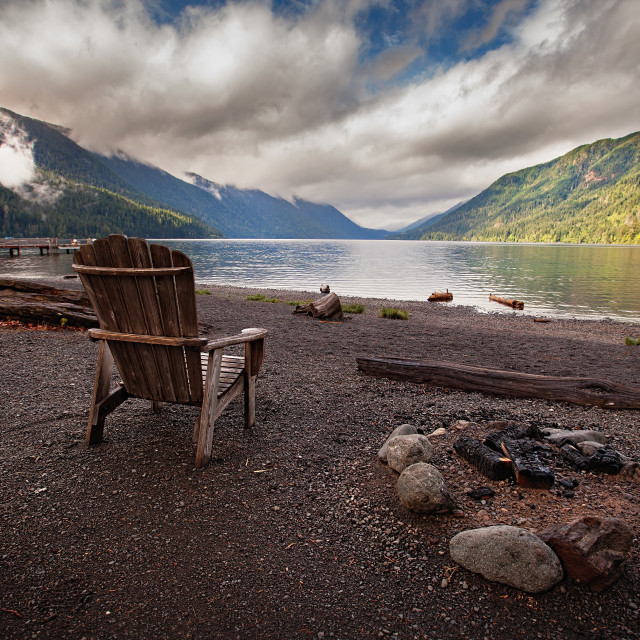 """Wooden Chair at Lake Crescent"" stock image"