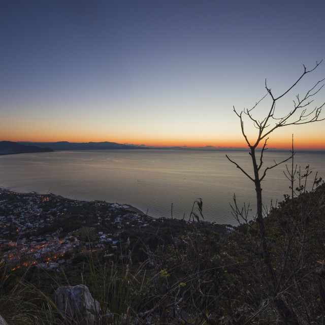 """""""Sunset on the Terracina Bay from Monte Circeo"""" stock image"""