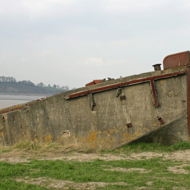 """""""Decaying concrete barge"""" stock image"""
