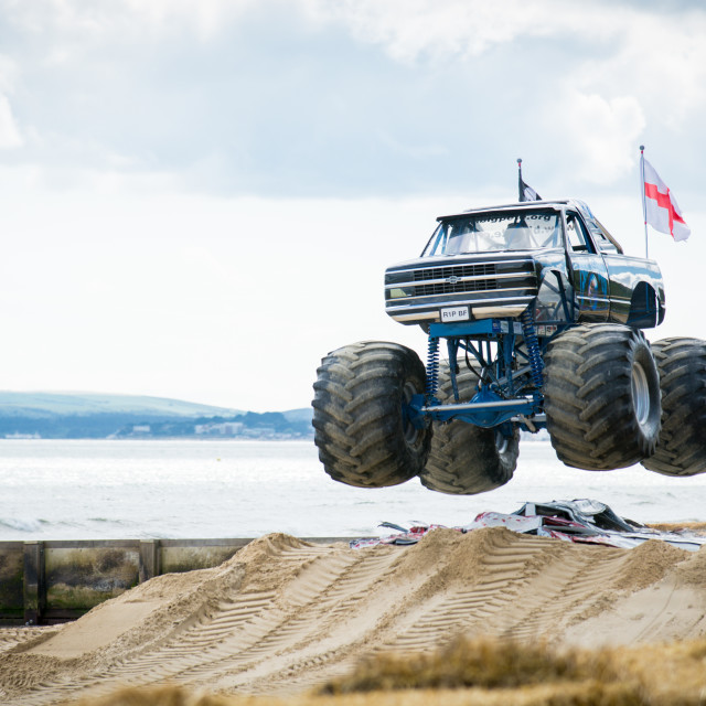 """Monster Trucks, in Bournemouth for the Wheels Festival 2015"" stock image"