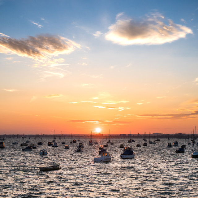 """Sunset in Sandbanks, Poole, Dorset"" stock image"