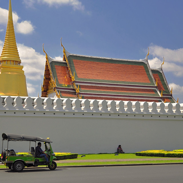 """""""Waiting at the Temple of the Emerald Buddha"""" stock image"""