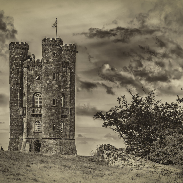 """Broadway Tower (B&W)"" stock image"