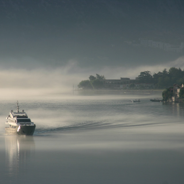 """""""Boat in early morning mist"""" stock image"""