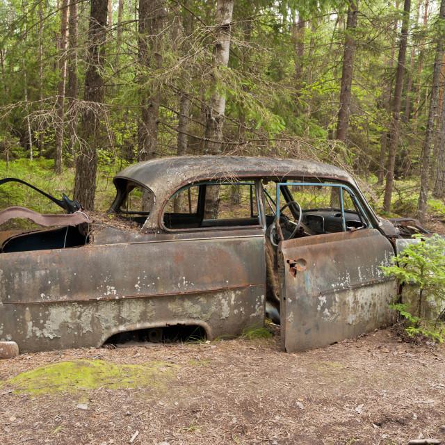 """""""Car Dump in Kirkoe Mosse"""" stock image"""