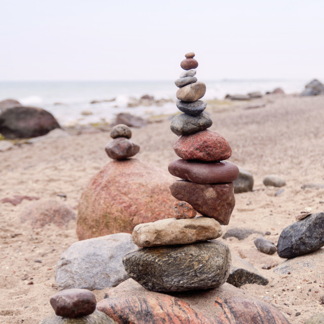 """Balanced Pepples at the Baltic Sea of Germany"" stock image"