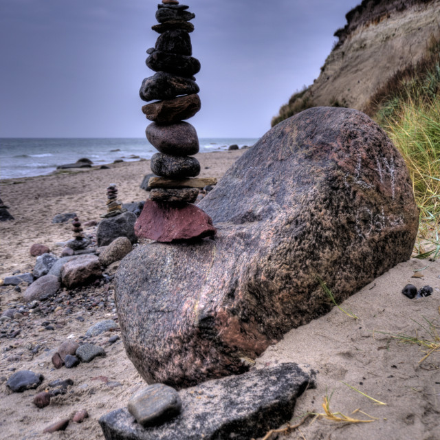 """Balanced Pepples at the Baltic Sea of Germany, HDR"" stock image"