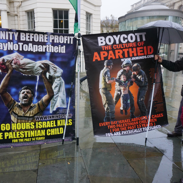 """""""HP end complicity in child torture #BoycottHP, London,UK"""" stock image"""