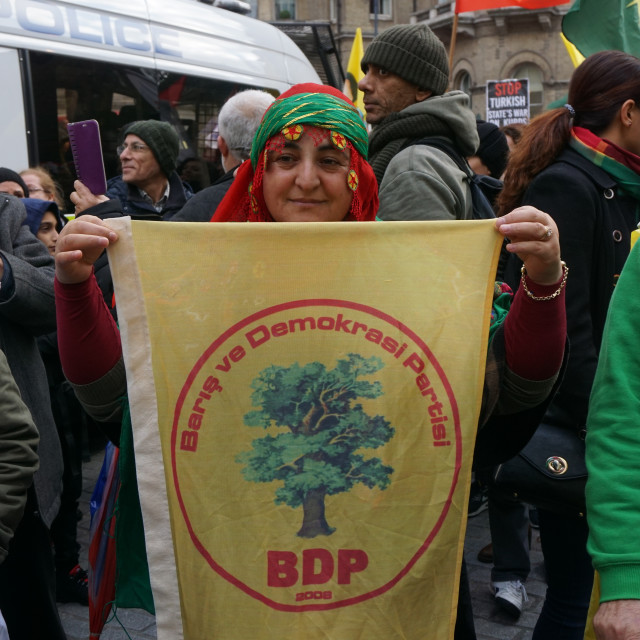 """Kurds Protest against Turkey fascist - Hands Off HDP, Hands Kurds Protest..."" stock image"