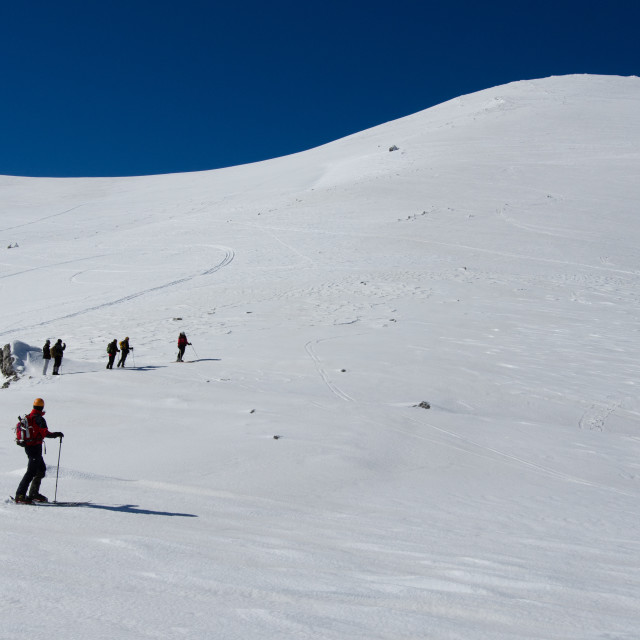 """""""expedition climbing on snow covered mountain"""" stock image"""