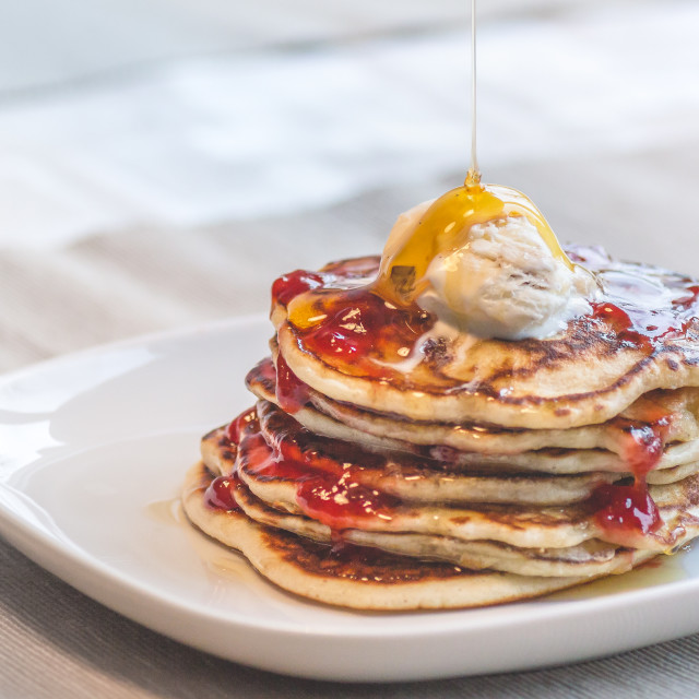 """Pancakes breakfast on a Sunday morning"" stock image"