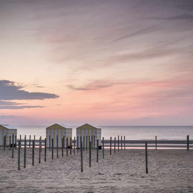 """Beach houses at dusk II"" stock image"