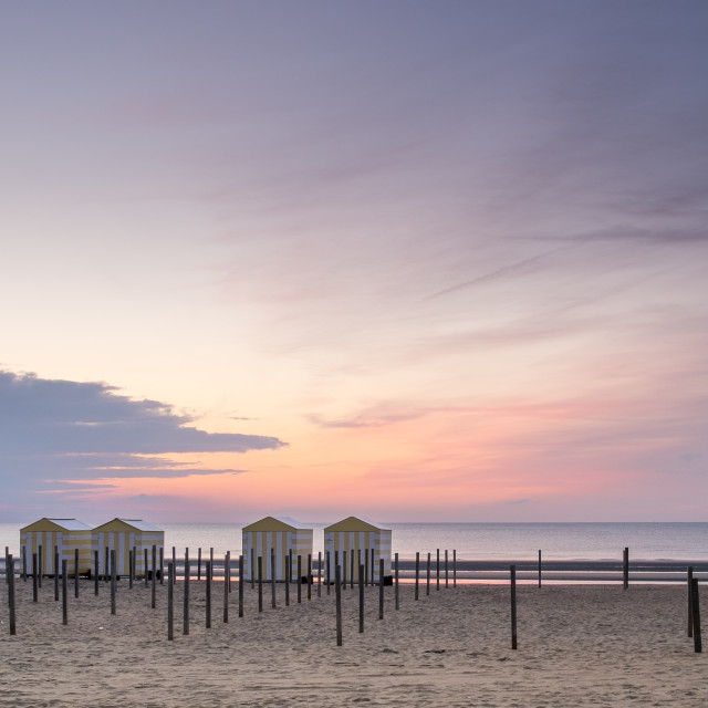 """Beach houses at dusk I"" stock image"