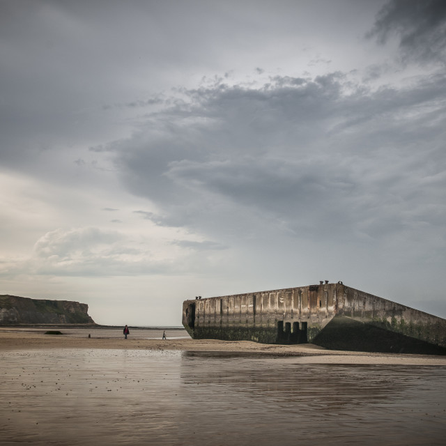 """Beach at Arromanches"" stock image"
