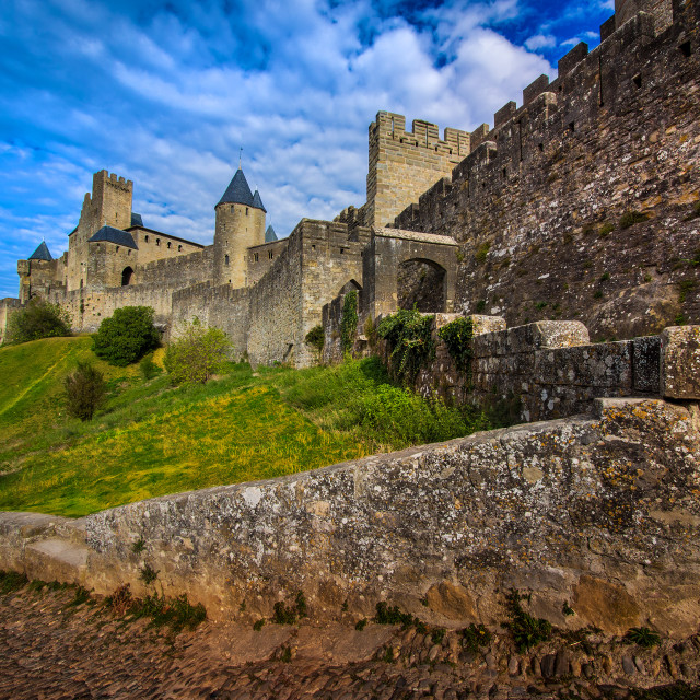 """Old city of Carcassonne in southern France"" stock image"