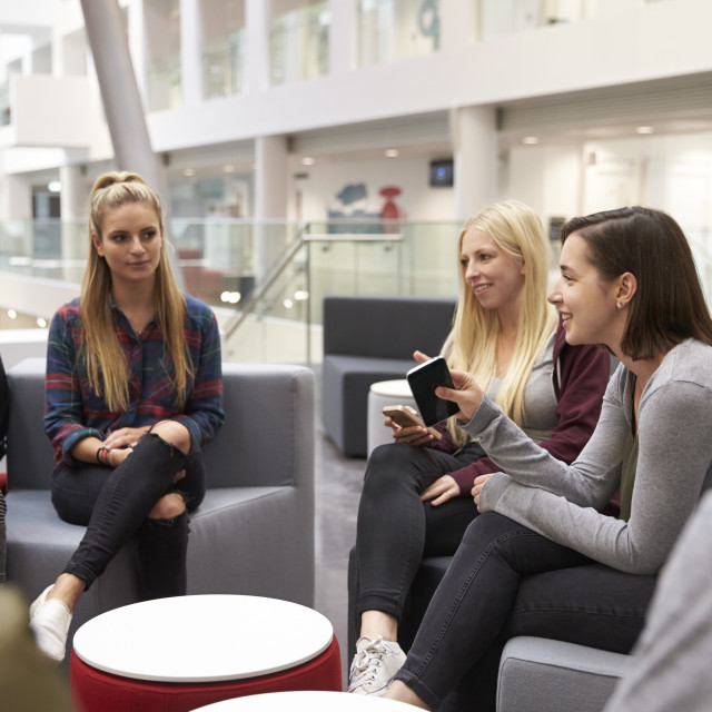 """Students meeting in the foyer of modern university building"" stock image"