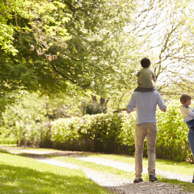 """""""Rear View Of Family Going For Walk In Summer Countryside"""" stock image"""