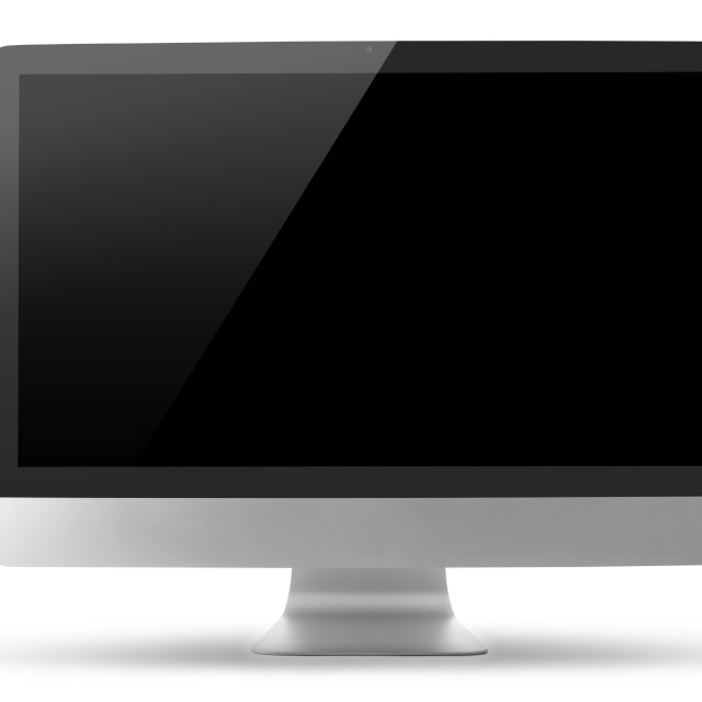 """Computer monitor isolated on white with clipping path"" stock image"