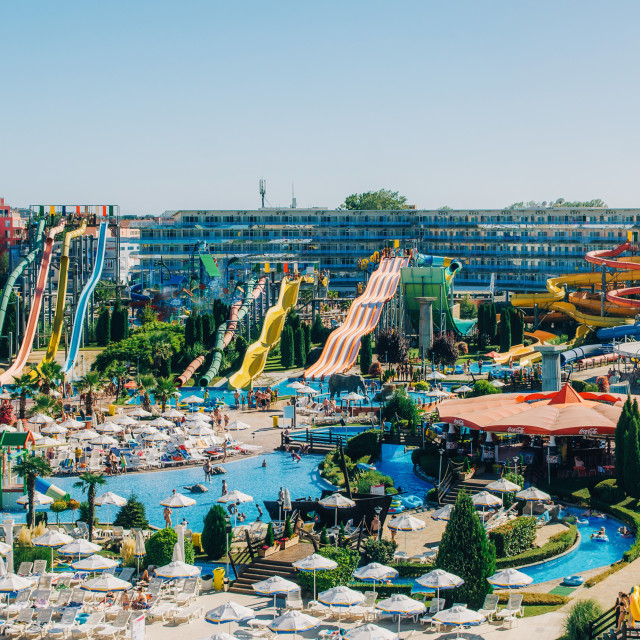 """Panoramic view of Water park Action in Sunny Beach with number of slides and swimming pools for children and adults."" stock image"