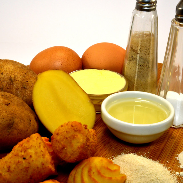 """Ingredients for the preparation of croquettes"" stock image"