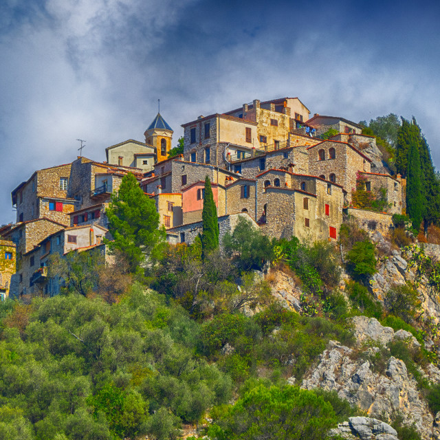"""Hill village of Peillon, France"" stock image"