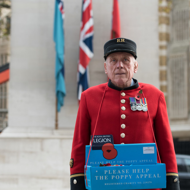 """chelsea Pensioner collecting for the poppy appeal"" stock image"