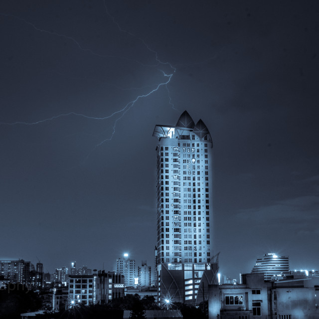 """night shot of downtown bangkok whith lightning"" stock image"