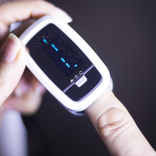 """Cardiac mini finger pulse meter"" stock image"