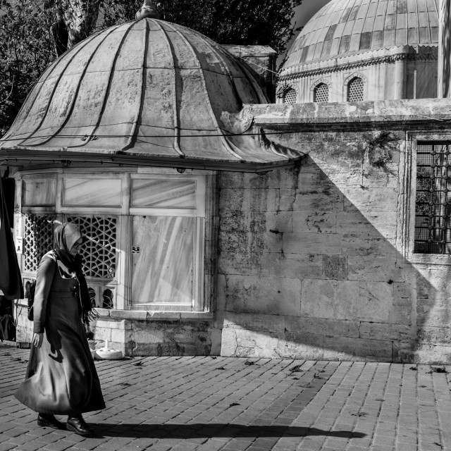 """BLACK AND WHITE STREET SCENE ISTANBUL"" stock image"