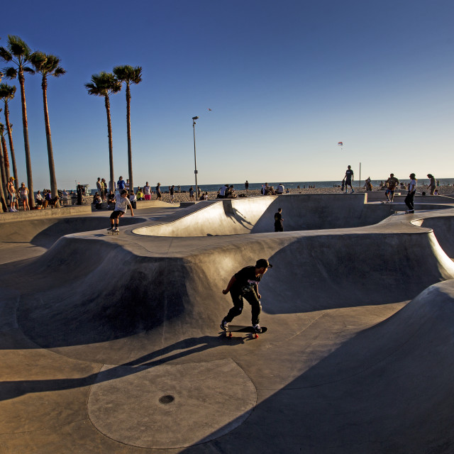 """The skatepark at Venice Beach, LA"" stock image"