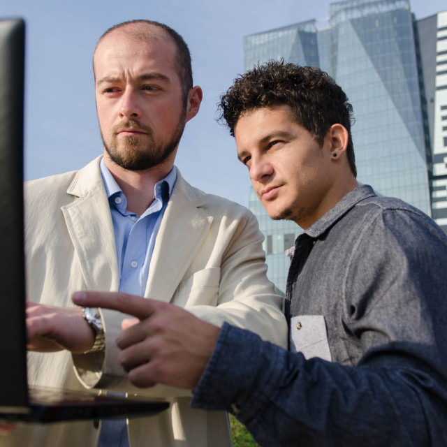 """""""young business mans looking at some data on computer"""" stock image"""