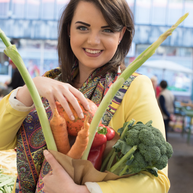 """""""young woman on market"""" stock image"""