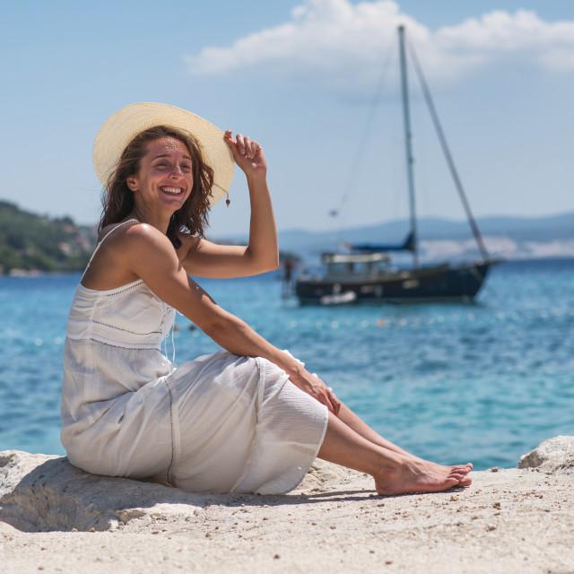 """young woman enjoying summer"" stock image"
