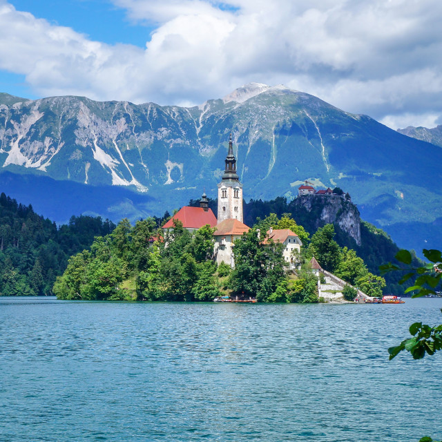"""Bled lake in Slovenia, view at famous church"" stock image"