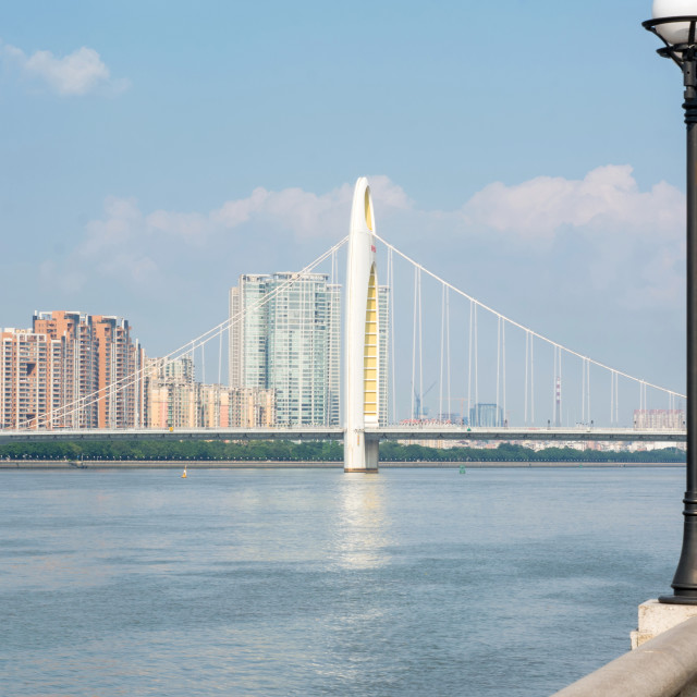 """""""Bridge over Pearl River in Guangzhou, Guangdong province, China"""" stock image"""
