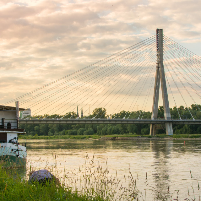 """Holy Cross Bridge over Vistula river in Warsaw Poland"" stock image"