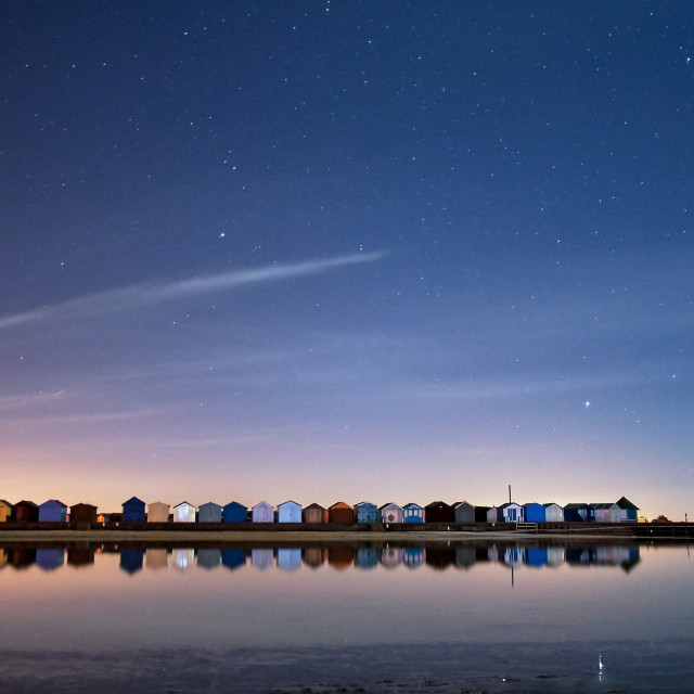 """Beach huts at night"" stock image"